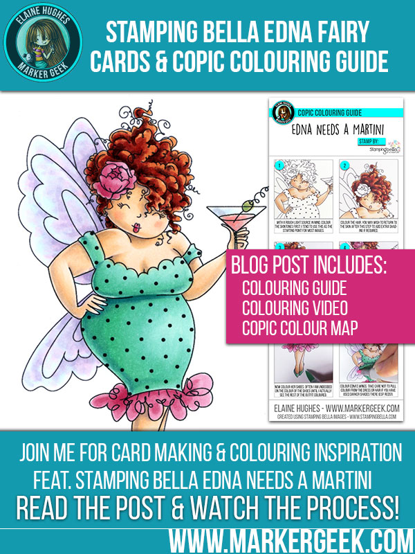Stamping Bella Edna Needs a Martini rubber stamp. Click through to see card samples, a setp by step colouring guide and colouring video!