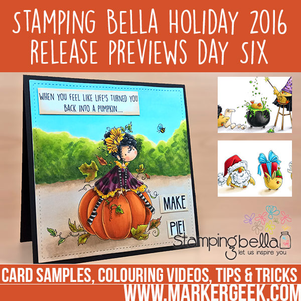 Stamping Bella 2016 Holiday Release Previews Day 6. Click through to read the blog post and watch the colouring videos!