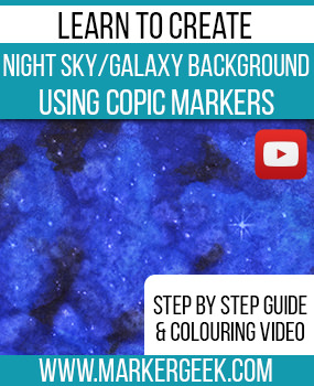 Learn to create a night sky or galaxy background using Copic Markers. Click through for the step by step guide and colouring video.
