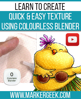 Create quick easy texture using Copic colourless blender. Click through for the step by step guide and colouring video.