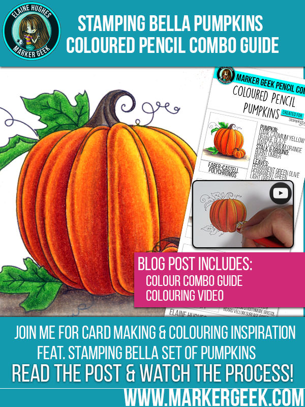 Marker Geek: Colouring Pumpkins using Coloured Pencils. Click through to get the combo guide and watch the colouring video!