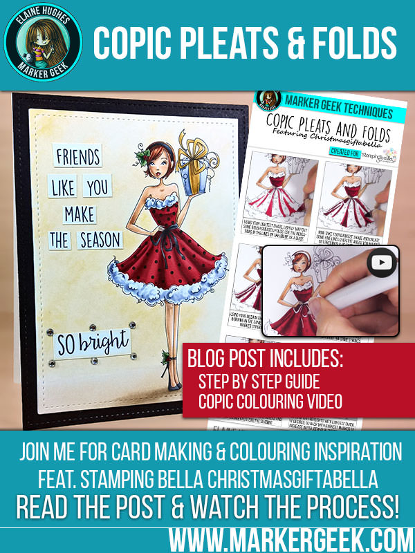 Stamping Bella Christmasgiftabella & Colouring Copic Pleats and Folds. Click through for a step by step guide and colouring video!