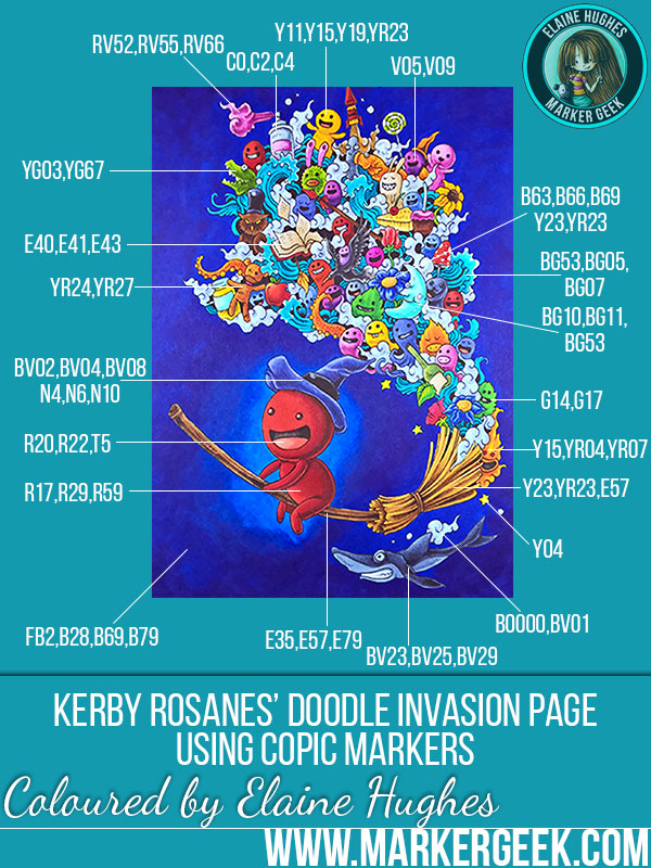 Doodle Invasion Colouring Book by Kerby Rosanes. Click through for the blog post with video!