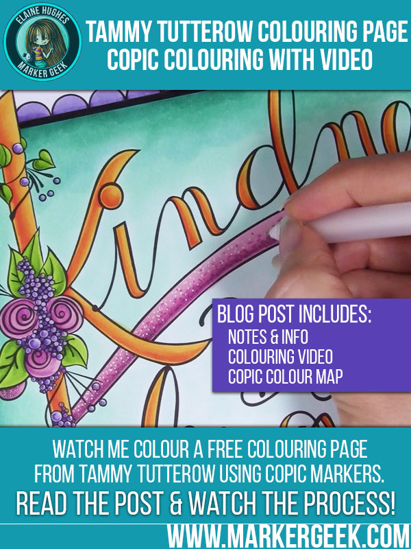Tammy Tutterow Coloring Page using Copic Markers. Click through to see the photos, read the post and watch the coloring video!
