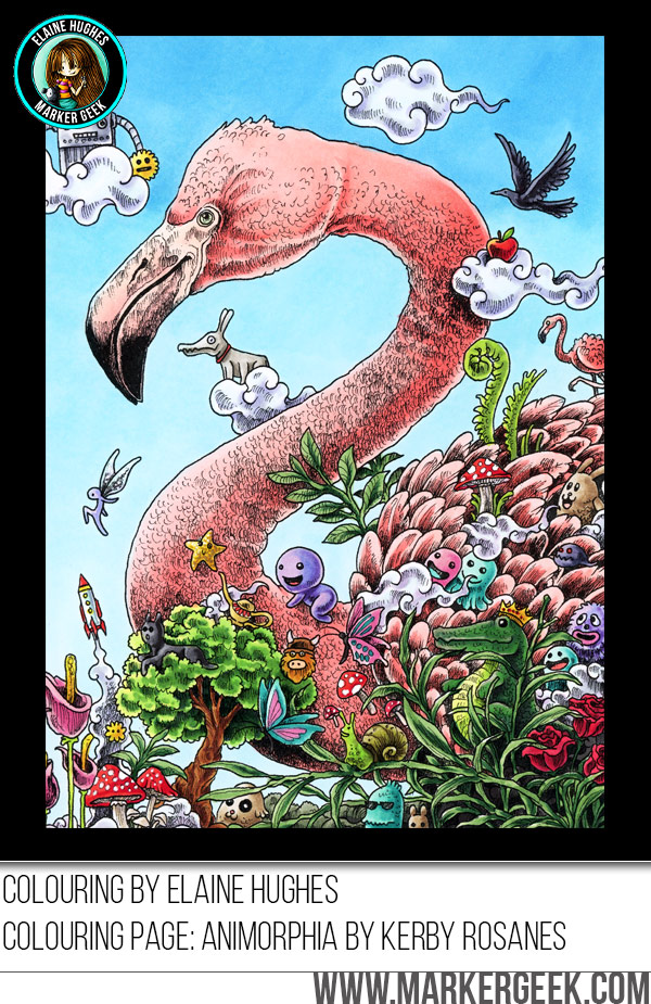 Animorphia Coloring Book Download Colouring Flamingo Using Copics Marker Geek