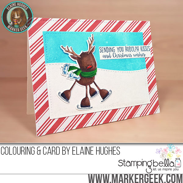 CAS Christmas Card feat. Stamping Bella & Zig Clean Color Real Brush Pens. Click through for post and video!