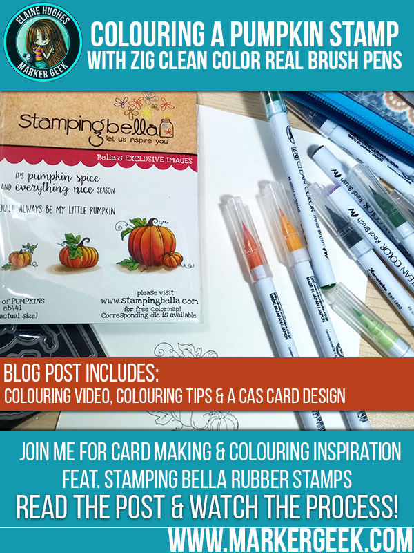 Colouring a Pumpkin using Zig Clean Color Real Brush Pens. Click through for blog post and video!