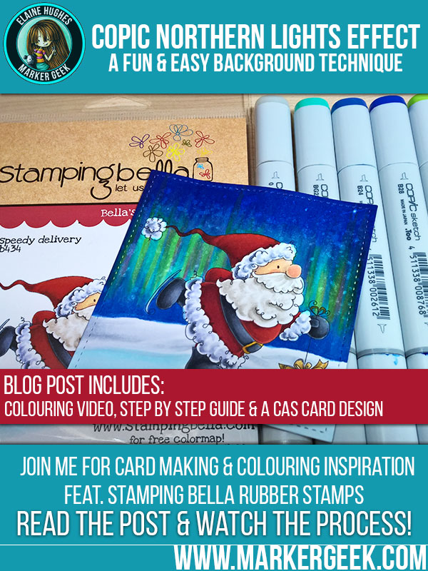 Copic Northern Lights Background ft. Stamping Bella. Click through for a video, step by step guide and card design!