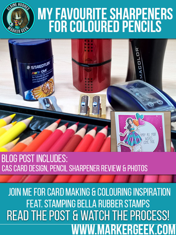 My Favourite Pencil Sharpeners for Colored Pencils. Click through for a fun Stamping Bella card design & my thoughts on pencil sharpeners!