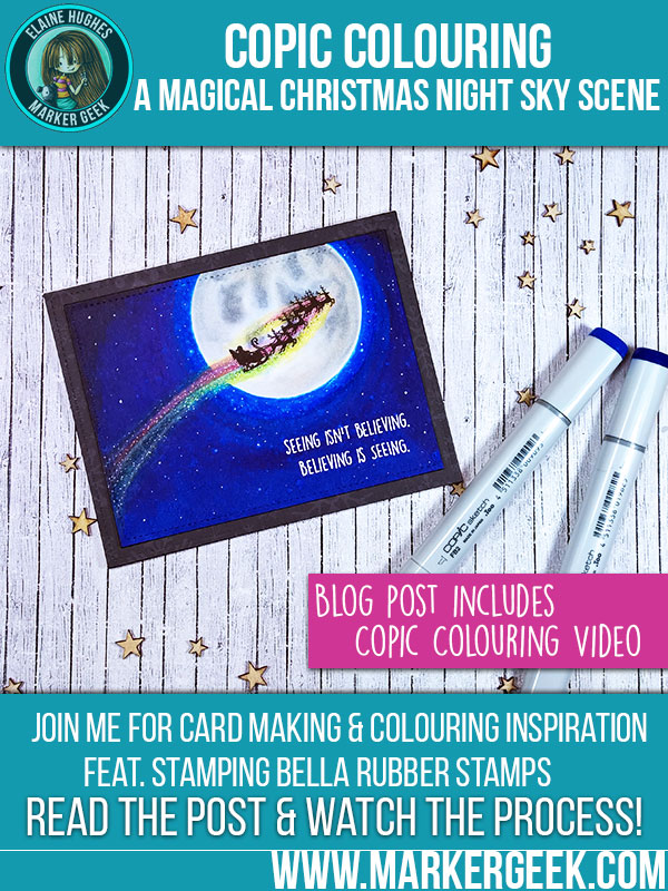 Colouring a Magical Christmas Night Sky Scene Using Copic Markers. Click through for full details and a colouring video!