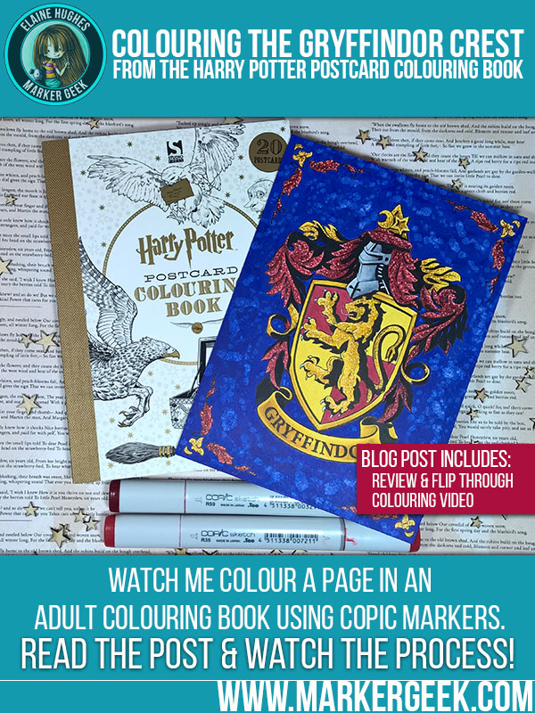 Copic Colouring Gryffindor Crest. Click through for the blog post with colouring video!