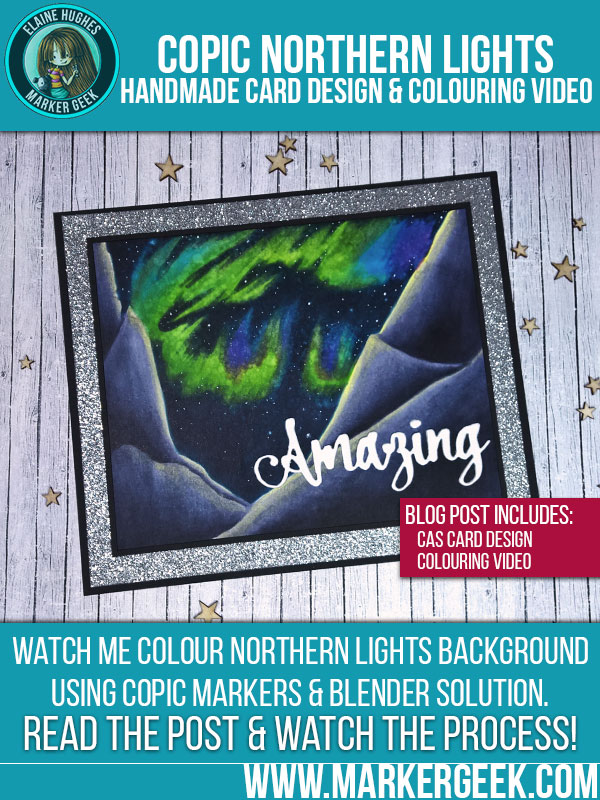 Marker Geek Copic Northern Lights Background. Click through for the blog post and video!