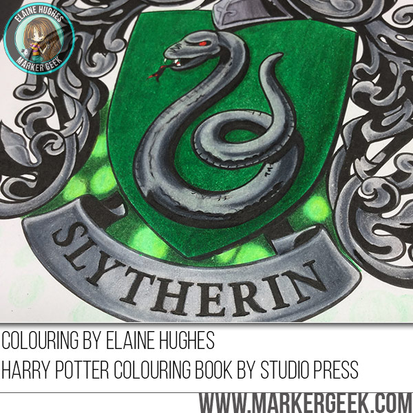 Colouring Slytherin Crest from the Harry Potter colouring Book. Click through for the blog post with colouring video!