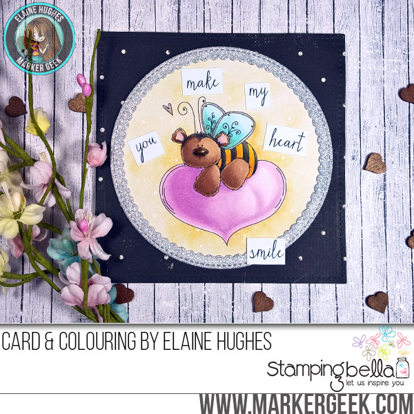 Stamping Bella The Bee & The Heart rubber stamp Card. Click through for full details and a colouring video!