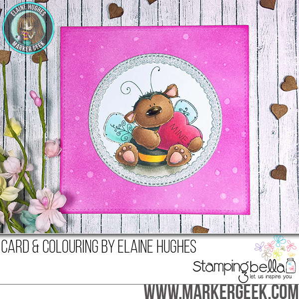 Stamping Bella Bee Mine rubber stamp Card. Click through for full details and a colouring video!