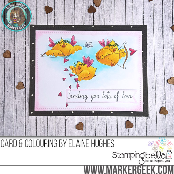 Stamping Bella Cupid Chicks rubber stamp Card. Click through for full details and a colouring video!
