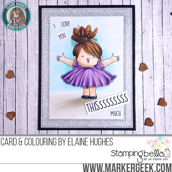 Stamping Bella Smoochie Squidgy rubber stamp Card. Click through for full details and a colouring video!