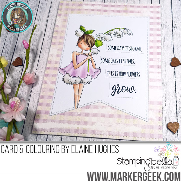 Stamping Bella Tiny Townie Garden Girl Lily of the Valley rubber stamp Card. Click through for full details and a colouring video!