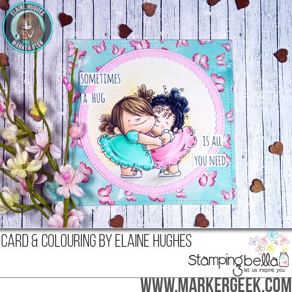 Stamping Bella Huggy Squidgies rubber stamp Card. Click through for full details and a colouring video!