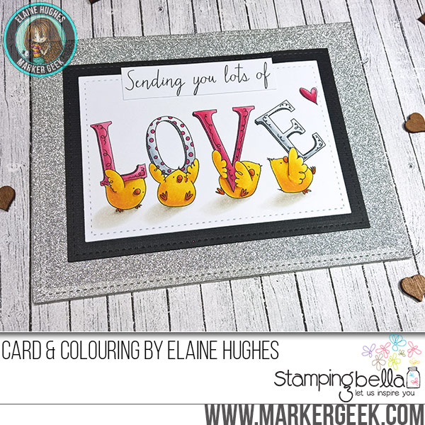 Stamping Bella Love Chicks rubber stamp Card. Click through for full details and a colouring video!