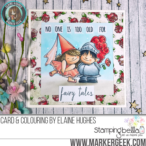 Stamping Bella Fairy Tale Squidgies rubber stamp Card. Click through for full details and a colouring video!