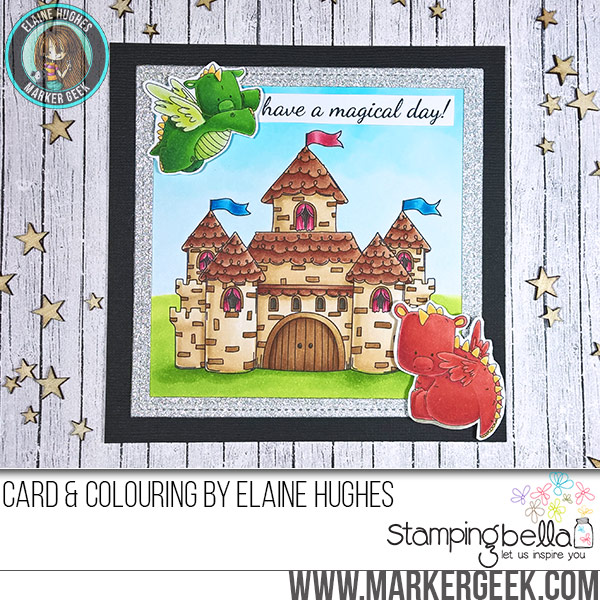 Stamping Bella Squidgy Castle & Set of Dragons rubber stamp Card. Click through for full details and a colouring video!