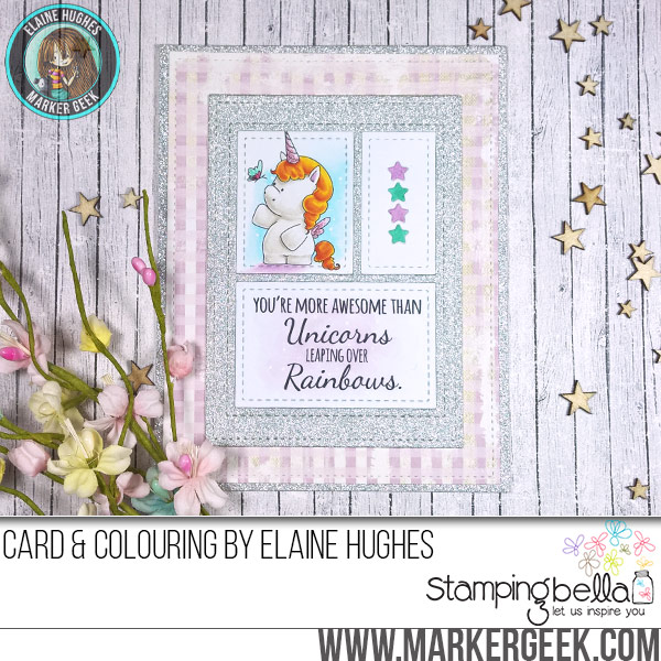 Stamping Bella Unicorn rubber stamp Card. Click through for full details and a colouring video!