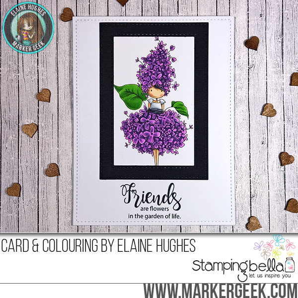 Stamping Bella Tiny Townie Garden Girl Lilac rubber stamp Card. Click through for full details and a colouring video!