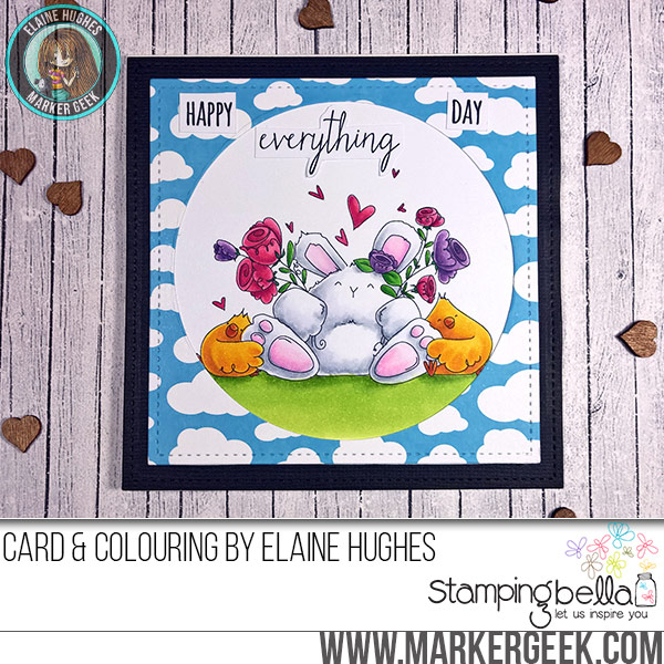 Stamping Bella Happy Everything Bunny Wobble rubber stamp Card. Click through for full details and a colouring video!