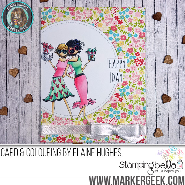 Stamping Bella Uptown Galentine Girls rubber stamp Card. Click through for full details and a colouring video!