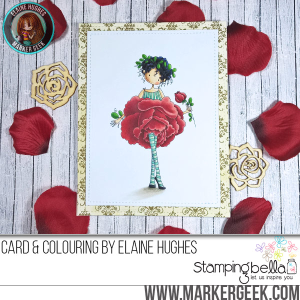 Stamping Bella Tiny Townie Garden Girl Rose rubber stamp Card. Click through for full details and a colouring video!