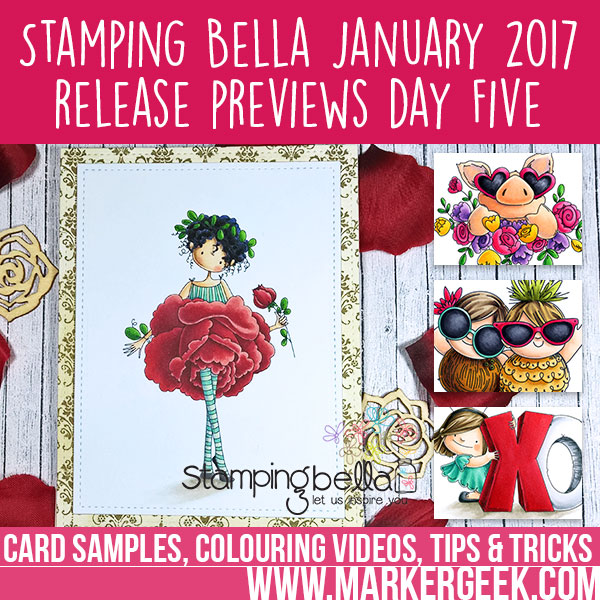 Stamping Bella January 2017 Release Peeks Day 5: Click through for card samples and colouring videos.