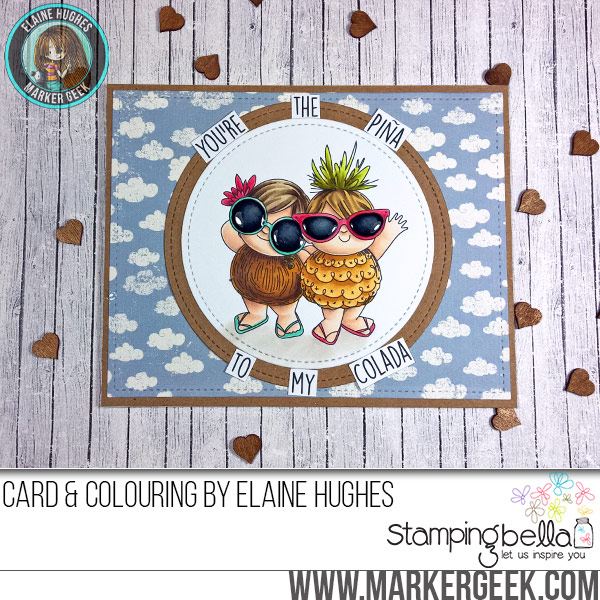 Stamping Bella Tropical Squidgies rubber stamp Card. Click through for full details and a colouring video!