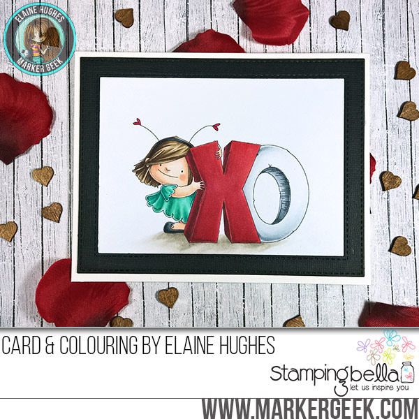 Stamping Bella XO Squidgy rubber stamp Card. Click through for full details and a colouring video!