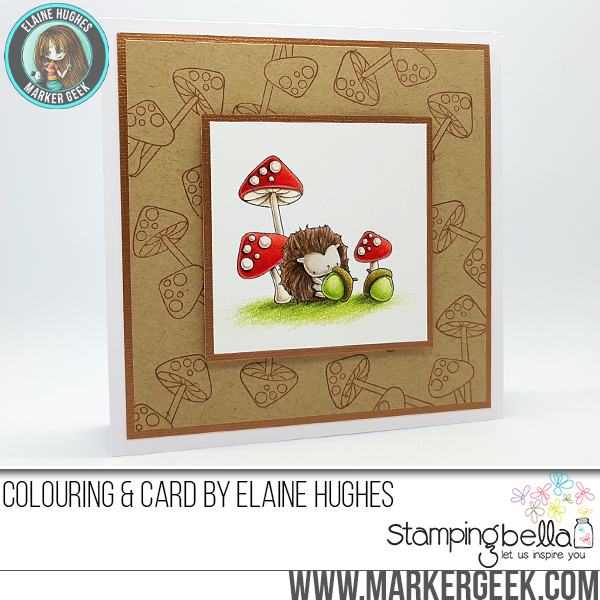 Marker Geek Stamping Bella Little Bits Hedgie & His Acorns Card