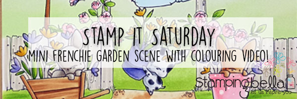 Marker Geek Mini Frenchie Garden Scene Card with colouring video
