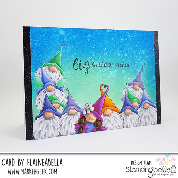 Marker Geek: Stamping Bella Gnome Scene Card with Distress Oxide Background & Video
