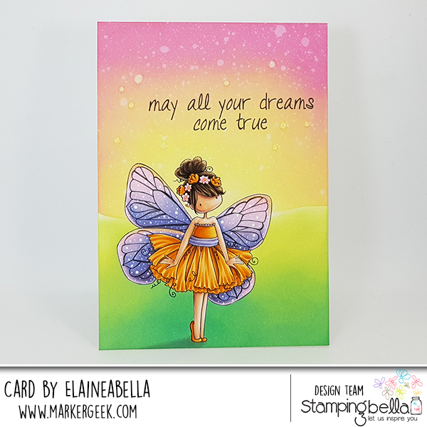 Stamping Bella Butterfly Girl Blanche Distress Oxide One Layer Scene Card with Video