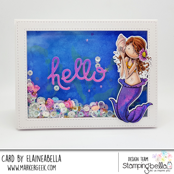 Mermaid Shaker Card with Distress Oxides & Polychromos (video)