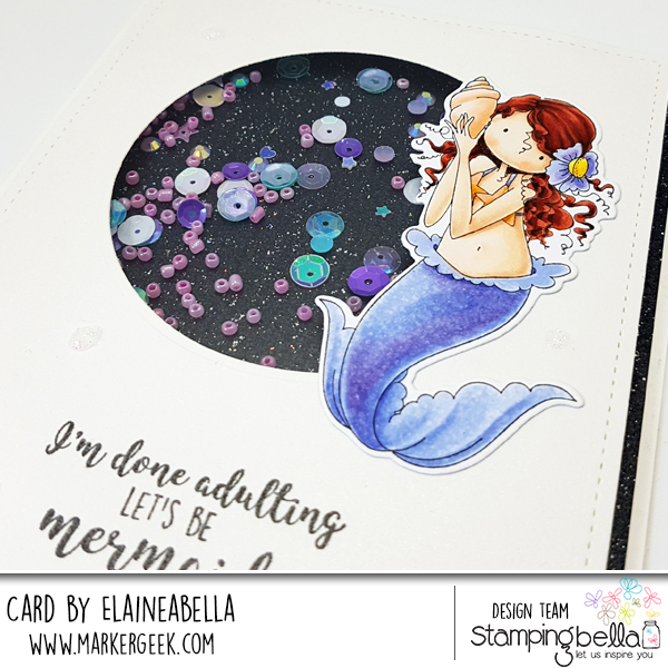 Marker Geek: Simple Mermaid Shaker Card with video