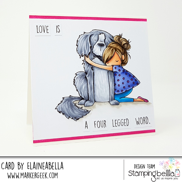 Marker Geek: Stamping Bella Tiny Townie Dawn loves her Dog Card & Copic Colouring Video