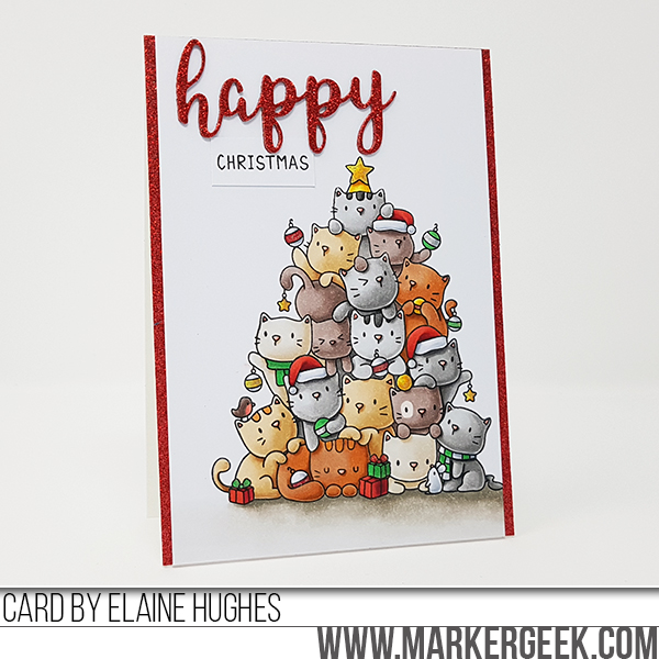 Marker Geek: Oh Kitty Tree Christmas Card featuring Mama Elephant