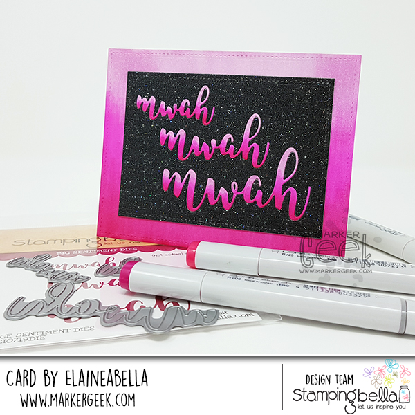 Stamping Bella MWAH Thank You Card - Gradient Coloured Inlaid Die Cuts