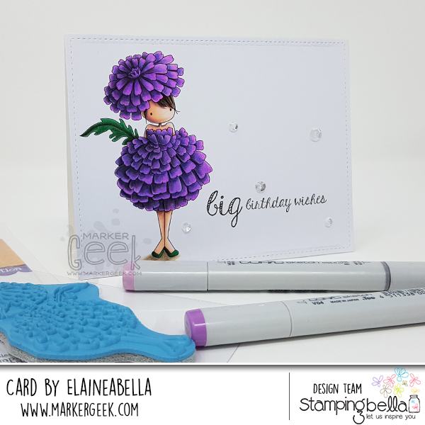 Marker Geek - Big Birthday Wishes featuring Stamping Bella Tiny Townie Marigold