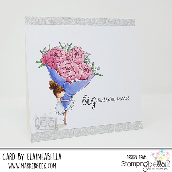 Marker Geek: Stamping Bella Teeny Tiny Townie with a Bouquet Card & Copic Colouring Video
