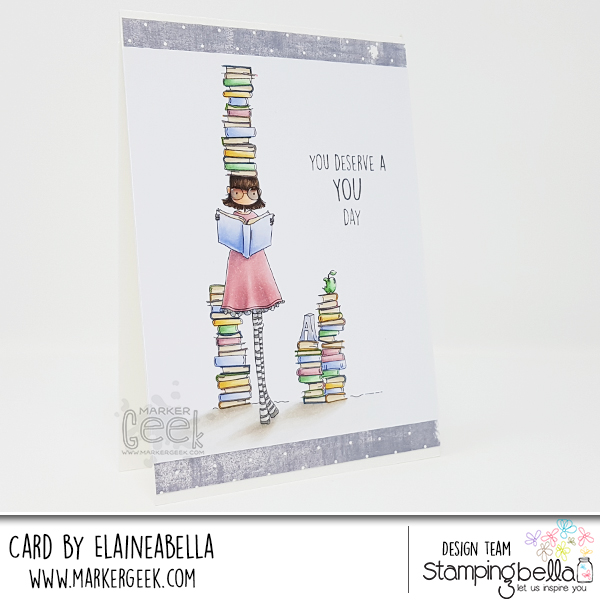 Marker Geek - Stamping Bella Uptown Girl Betty loves Books Card & Copic Colouring Video