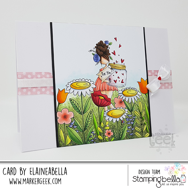 Marker Geek: Stamping Bella Curvy Girl in the Floral Forest Scene Card