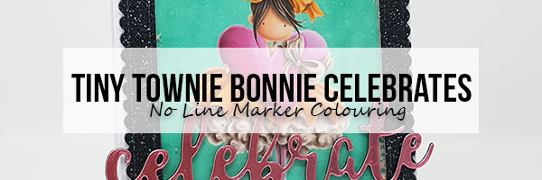 Marker Geek: Stamping Bella Tiny Townie Bonnie Celebrates Shaker Card with No Line Colouring