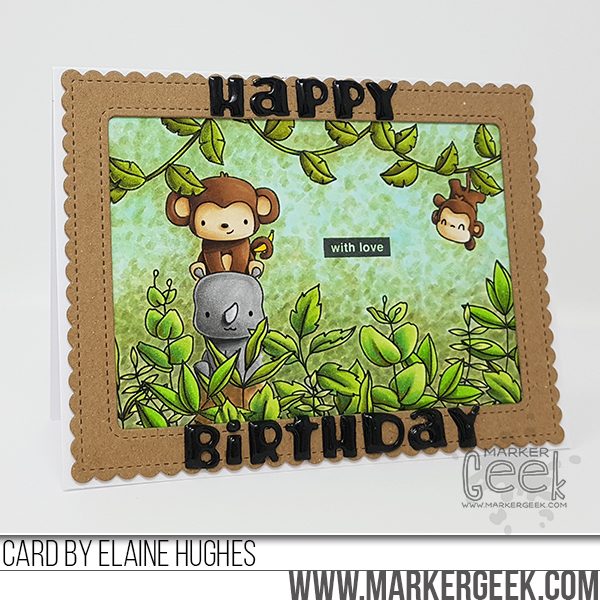 Marker Geek: Mama Elephant Stackable Cuties in the Jungle Scene Card