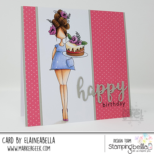 Marker Geek: Stamping Bella Curvy Girl Eats Cake Card & Copic Colouring Video